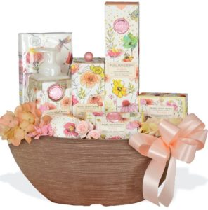 This Bath and Body Basket, by Michel Design Works includes shea butter bar soap, body lotion, and a relaxing bubble bath